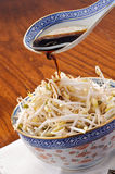 Soy sauce on soy sprout Stock Photography