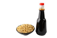 Soy sauce and soybean Royalty Free Stock Image