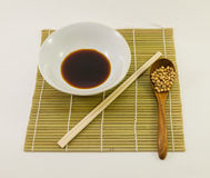 Soy sauce and soybean Stock Images