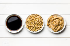 Soy sauce, soybeans and soy meat Stock Image