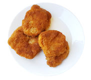 Soy schnitzel on a white plate Royalty Free Stock Images