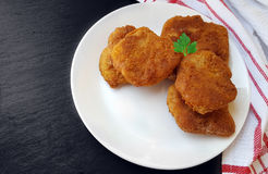 Soy schnitzel on a white plate Stock Image