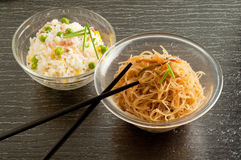 Soy spaghetti and cantonese rice Stock Photo