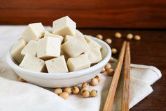 Soy tofu or bean curd, Vegetarian food on wooden background. Royalty Free Stock Image