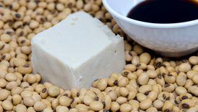 Soy tofu with soybean and soy sauce Stock Image