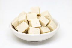 Soy tofu and soybeans, Vegetarian food isolated on white backgro Royalty Free Stock Image