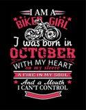 Soy una camiseta del diseño de las muchachas del motorista stock de ilustración