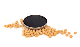 Soya Beans and Soy Sauce Stock Image