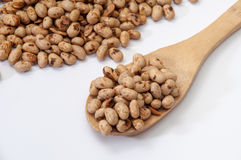 Soya beans on wooden spoon Royalty Free Stock Images