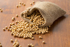 Soya beans on wooden surface Royalty Free Stock Photography