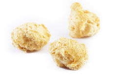 Soya flakes,vegetable protein on white backg Stock Images