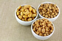 Soya Meat, Soaked  and Dried Soybeans Royalty Free Stock Photo