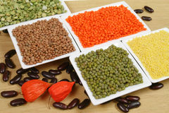 Soya and mung beans Stock Photos