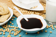 Soya sauce and other soy products. Soya sauce, tofu and other soy products Royalty Free Stock Images