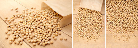 Soya seeds on a wooden background Stock Photo