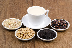 Soya, sesame seeds, soy and rice drinks ingredients healthy. Stock Photos