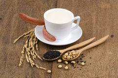Soya, sesame seeds, soy and rice drinks ingredients healthy. Stock Images