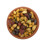 Soybean cranberry trail mix in a small bowl Royalty Free Stock Image