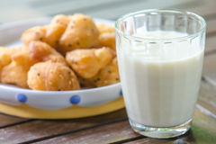 Soybean milk with deep-fried dough stick Royalty Free Stock Photo