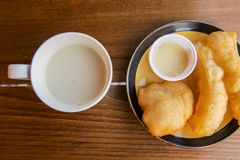 Soybean milk with deep-fried doughstick ,Thailand Royalty Free Stock Photography
