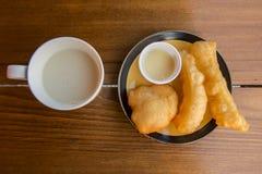 Soybean milk with deep-fried doughstick ,Thailand Stock Photos