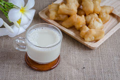 Soybean milk with fried bread stick Stock Image