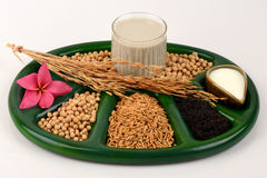 Soybean milk, soy, Black Sesame Seeds and Germinated brown rice (GABA). Royalty Free Stock Images