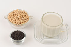 Soybean milk, soy, Black Sesame Seeds and Germinated brown rice (GABA). Royalty Free Stock Photo