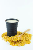 Soybean milk and soybean. On white background Royalty Free Stock Photo