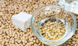 Soybean oil  poured into glass bowl Stock Photos
