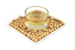 Soybean oil from soy bean Stock Photography
