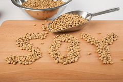 Soybean in shape of soy word  with transfer scoop Stock Image