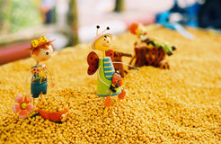 Soybean with toys Stock Photography