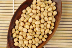 Soybean in wood spoon Stock Photography