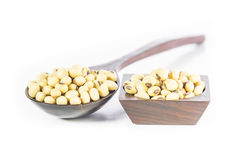 Soybean in wooden spoon Stock Photo