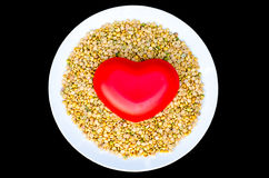 Soybeans health care is heart Royalty Free Stock Image