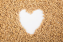 Soybeans with heart shape Stock Photos