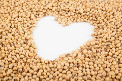 Soybeans with heart shape Royalty Free Stock Image