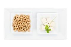 Soybeans och tofu. Fotografering för Bildbyråer