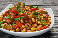 Soybeans with paprika and sausage Stock Images