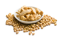 Soybeans and soy meat Stock Photo