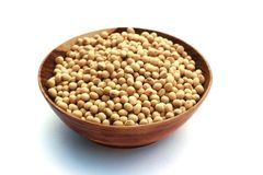 Soybeans. Soya beans is in wooden blow Royalty Free Stock Image