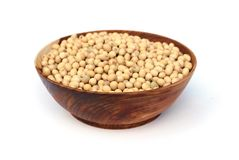 Soybeans. Soya beans is in wooden blow Stock Photos