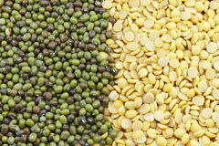 Soybeans, split in half and Mung beans Stock Photo