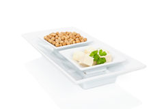 Soybeans and tofu. Royalty Free Stock Photo