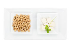Soybeans and tofu. Stock Image