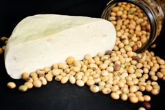 Soybeans and tofu Royalty Free Stock Images