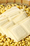 Soybeans and tofu Stock Image