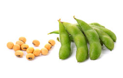 Soybeans on white background Royalty Free Stock Images