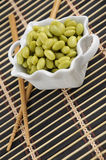 Soybeans in a White Dish Stock Images